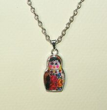 YELLOW FLOWER RUSSIAN DOLL SILVER PLATED charm PENDANT kitsch collectable