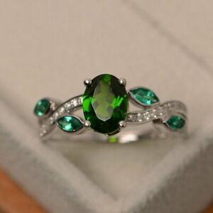 8x6mm Oval Cut Diopside & Emerald Designer Wedding Ring 18K White Gold Over