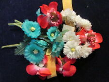 """Vtg Millinery Flower Collection Fuchsia Pink Teal White 1-2"""" Doll Size Ger H2888"""