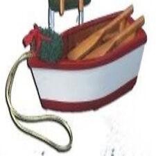 KURT ADLER MINI WOODEN ROW BOAT DINGHY RED WHITE COASTAL NAUTICAL XMAS ORNAMENT