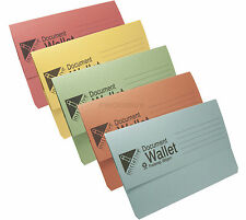 30 x Foolscap Document Wallets 285gsm Thick Card Assorted A4 Paper Folders Files