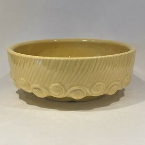 Vintage Yellow McCoy Stoneware Wave Dot Design Bulb Planter - Round Low Dish