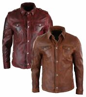 Men's Tan Timber Washed Slim Fit Shirt Jacket Retro Smart Casual Real Leather