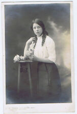 Pretty Young Edwardian Girl, RP Postcard, Photo by Brunton of Burnley