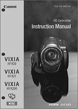 Canon VIXIA HF R20, R21, R200 Camcorder User Instruction Guide  Manual