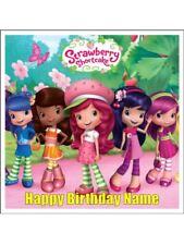 STRAWBERRY SHORTCAKE Square 18cm Edible Icing Image Birthday Cake Topper