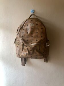 Authentic MCM Stark Stud Cognac Small Backpack