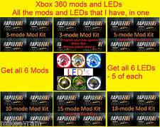 Mod and LED Bundle, Rapid Fire, xbox 360, 6 different mods & 30 LEDs, 6 colors