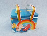 """Care Bears Character Tin Box Container Basket Handle 1983 Vintage Cartoon 6""""x4"""""""