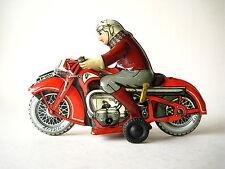 Nice tin Huki motorcycle clockwork vintage toy Made in us zone Germany 1950
