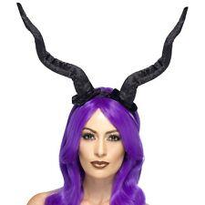 Halloween Fancy Dress Demon Horns Black Maleficent Type Horns by Smiffys New