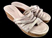 Donald J. Pliner Sheena 2 Women US 7.5M Cork Wedge Sandals Strappy Beige 22-18