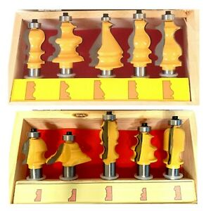 """10 pc 1/2"""" Shank Architectural Specialty Molding Router Bit set with Box S"""