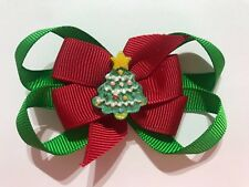 RED AND GREEN CHRISTMAS TREE DOUBLE BOW HAIR CLIP