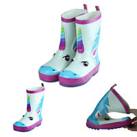 Girls Boys Unicorn Cute Print Short Waterproof Rubber Rain Boots Kids White