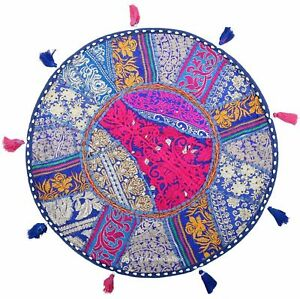 """Patchwork Round Pillow Cushion Cover 22""""Hippie Home Decor Cushions Covers Indian"""