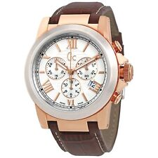 GUESS COLLECTION  I41501G1  SWISS MADE CHRONOGRAPH WATCH LEATHER BAND GC MEN's