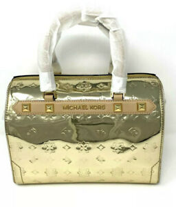 MICHAEL KORS KARA DUFFLE MIRROR METALLIC PVC LEATHER SATCHEL SHOULDER BAG GOLD