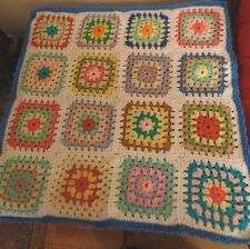 """Vintage multi color Granny square afghan throw lap baby doll size blanket 28"""""""