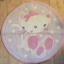 Girls Bedroom Rug Pink Kitten Cute