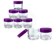 6 Pieces 30 Gram/30ml Plastic Clear Sample Jar Containers with Purple Flat Lids