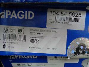 Pagid 104545628/C1015PCA Rear Brake Disc Replacement Right/Left Partner/Berlingo