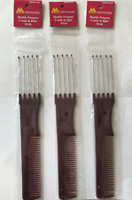 3 Pack Marianna Professional Teasing Combs Metal Prongs Perfect Salon Fluffing