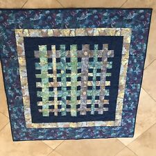 Hand Made Baby Quilt Blue Floral Reversible 41.5� Square