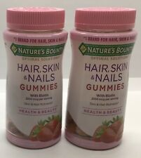 Nature's Bounty Hair, Skin & Nails Gummies W/Biotin 2 Bottles 80ea New