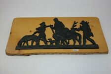 altes Gusseisen Relief Bild Jagd Motiv auf Holztafel #200071