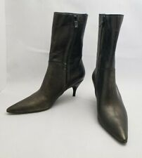 New No Box Costume National Distressed Gunmetal Leather Boots 37 Made in Italy