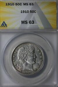 1910  50C ANACS  MS 63       Barber Half Dollar, Liberty Head