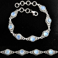 9.62cts Natural Rainbow Moonstone 925 Sterling Silver Tennis Bracelet P96877