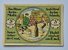 New listing Gronau Notgeld 3 Mark Emergency Money Germany Rare Old,Very Rare,Unc (5279)