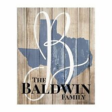 Personalized State Shape Family Name Sign Pallet Wood Style FREE SHIPPING