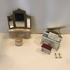 Vintage Dollhouse Furniture Ideal Grand Piano with Bench and Music Vanity Stool