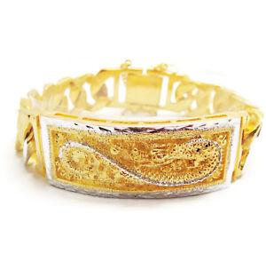 Dragon 22K 23K 24K THAI BAHT YELLOW & WHITE GOLD GP Men's Bracelet  20 MM