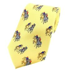 Horse Racing On Yellow Silk Neck Tie Jockey Trainer Mens Gift