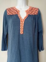 Pixley Womens Blouse Large Stitch Fix Blue Coral 3/4 Sleeve V Neck Career Casual