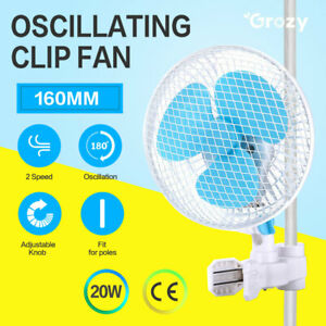 "2 Speed Clip Desk Fan 160mm Quiet Vertical 6"" Oscillating Fan Fit Grow Tent Pole"