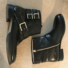BIONDA CASTANA ANKLE BOOTS, BLACK LEATHER 39.5 NEW