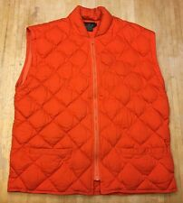 Mens J.Crew Orange Cotton Quilted Vest RN# 62011 Medium
