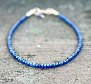 """Natural Blue Sapphire Bracelet Solid 14k Gold , 8"""" - 8 2/3"""" , Unisex Mens , Sept"""