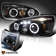For 2004-2007 Chevy Malibu Black LED Halo Projector Headlights+H1 Halogen Bulbs
