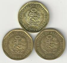 3 DIFFERENT 10 CENTIMOS COINS from PERU (2012, 2013 & 2014)