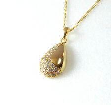 Pendant Necklace Charm Women's 14K Gold Plated Simulated Diamond Luxury Pear UK