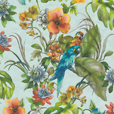 PAPPAGALLI Carta da parati in blu cielo effetto acquerello Lavabile Contour VINILE 30015-2