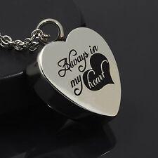 Always In My Heart Cremation Jewelry Keepsake Memorial Urn Necklace Ash Holder
