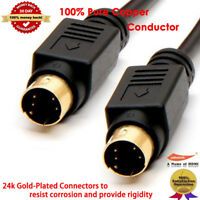 6FT 10FT 25FT S-Video Svideo SVHS 4 pin Male to male Cable/Lead - GOLD