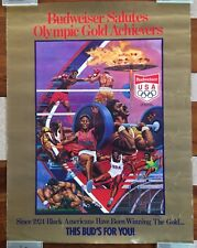 "ORIGINAL BUDWEISER USA OLYMPIC POSTER BLACK AMERICANA / L. KATZ  / H 26 x W 20"""